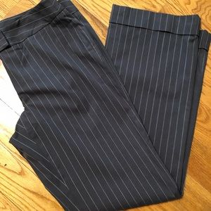 Cabi Pants.  Gray and White Pin Stripes.